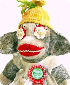 Happy Vintage Sock Monkey by garboodles on Etsy, $55.00