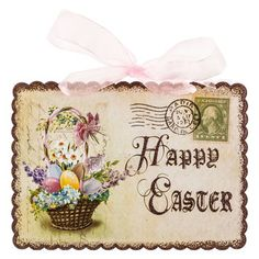 Happy Easter Vintage Sign with Pink Bow