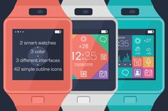 Vector smart watches & simple icons by @Graphicsauthor