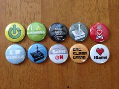 Video Game Buttons Pinback Button Set of 10 by MyButtonMonster, $5.00