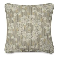 Metallic Damask Toss Pillow in Ivory/Taupe - BedBathandBeyond.com
