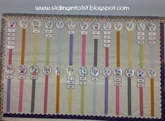 Sliding into First Classroom Tour: ribbon word wall