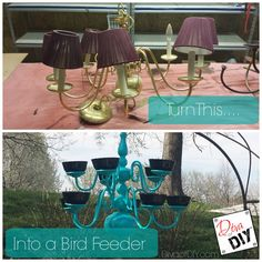 Turn a old and outdated chandelier into a stunning bird feeder the neighbors will surely be jealous over!