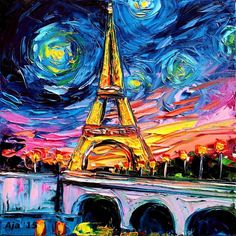 The Eiffel Tower. Vincent Van Gogh Paintings and a Sprinkle of Pop Culture. To see more art and information about Aja Trier click the image.