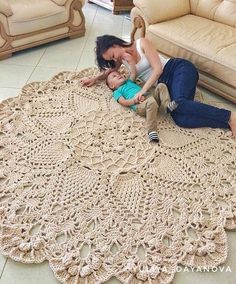 Absolutely stunning round carpet 82 in doily rug mint color carpet shabby chic rug for the livi – Artofit Crochet Doily Rug, Crochet Carpet, Crochet Rug Patterns, Crochet Round, Crochet Home, Crochet Stitches, Free Crochet, Shabby Chic Rug, Tiger Crafts