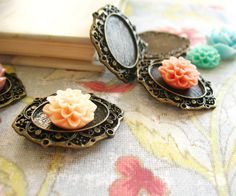 6 Antique Bronze Base Setting Cameo Oval, 31x37x3mm, Hole: 3x6mm
