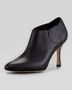 Bootie/Leather/Black: Livrea Leather Gore Ankle Bootie by Manolo Blahnik at Neiman Marcus.