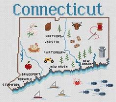 Sue Hillis Connecticut Map - Cross Stitch Pattern. Model stitched on your choice of fabric using DMC floss. Stitch count 115x107.