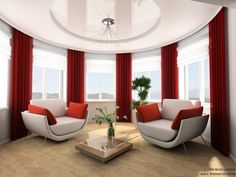 This look certainly creates a stunning statement. Red feature voiles with white Roman blinds.