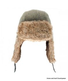 Heather Hats Kevern Derby Tweed Trapper Hat - Light Green The Kevern is a British Derby Tweed trapper hat with high quality faux fur trims Quilted