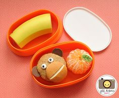 This was a super cute bento for her morning nutrition break. She had a monkey muffin, a peeled clementine orange with an adorable leaf pick and a banana. I start the peel on the banana from the back so she can easily peel it herself at school.    meet the dubiens blog