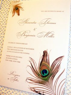 If you are aware of how much I adore peacock feathers then you know I am in love with these invitations.