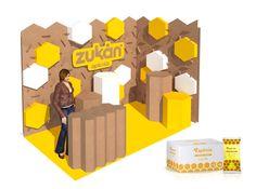Stand feria apicola modular carton sostenible ecologico organico Zukan diseñado por Cartonlab. Booth fair trade show modular hexagonal cardboard sustainable ecologic organic Zukan designed by Cartonlab.