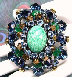 Vtg SCHREINER NY Peking Glass INVERTED SAPPHIRE BLUE RHINESTONE Brooch/Pin/Pndt #Schreiner
