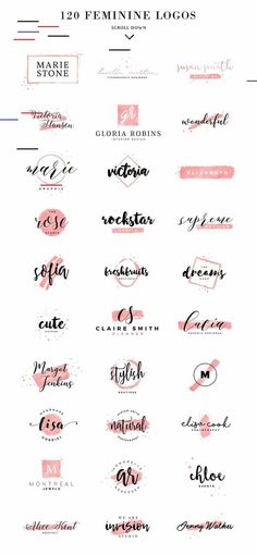 120 Feminine Branding Logos by Davide Bassu on Creative logo design inspiration, perfect for a modern business branding with perfect font and typography selection. Take some ideas or use this feminine, elegant, nature, feminine and also hipster set. Logo Branding, Branding Ideas, Logos Online, Logo Online Shop, Inspiration Logo Design, Typography Inspiration, Photoshop Logo, Photoshop Illustrator, Photoshop Actions