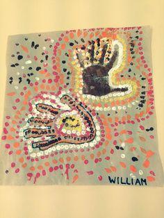 empreintes de mains, à la manière aborigène, Australie, maternelle, le tour du monde de loup