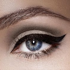 We love this smoky, winged eyeliner look using Crushed Ice and Cream PurePressed Eye Shadow, Onyx Mystikol and Black Jelly Jar Gel Eyeliner.