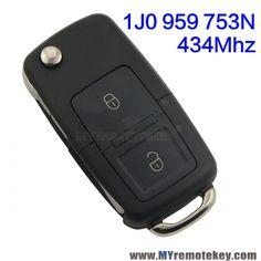 Flip remote key 2 button 434mhz ID48 1JO959753N for VW Volkswagon Beetle Bora Golf Jetta Passat car key