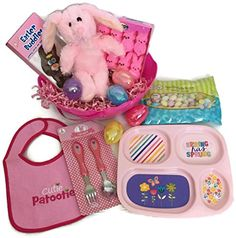 Baby Girl's First Easter Basket Bundle Includes Plush Bunny, Chocolate Bunny, Peeps, Jelly Beans, Divided Dish Set, Bib, Plastic Eggs, Filler Grass and Basket Combination http://www.amazon.com/dp/B01CC7NTK6/ref=cm_sw_r_pi_dp_pJG4wb19NNEHA