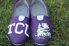 TCU Hand Painted Shoes by TKLCustomCreations on Etsy, $50.00