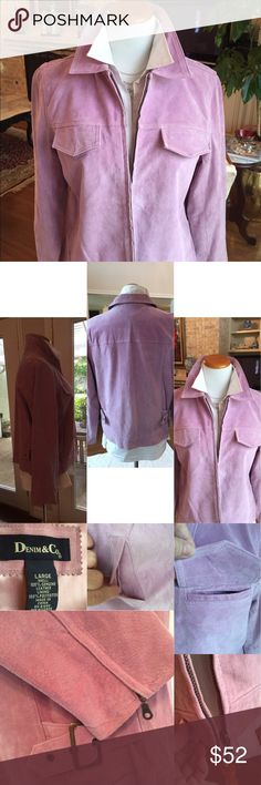 Lavendar suede jacket zipper adjustable waist lg Love this color! Has pockets on chest and sides. So many nice details. Fully lined. All you need is jeans and boots and you'll look pulled together in no time. Worn once. Excellent used condition. No flaws. ❤️ large fits sizes 14-16 Denim & Co.  Jackets & Coats
