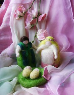 Seasonal  Wool Family  Figures  with their babies  by softearthart, $80.00