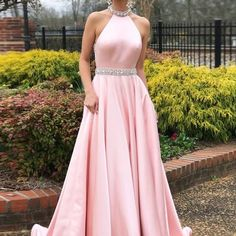 Simple a-line prom dresses pink high neck cheap beading prom dress/evening dress 2018