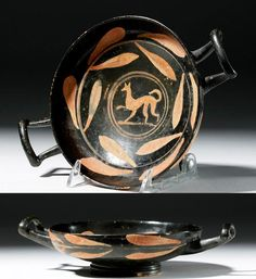 Kylix with Laconian Hound, Magna Graecia, Apulia (4th BC), Market Magna Graecia, Ancient Greek Sculpture, Greek Pottery, Wood Images, Heart Shaped Rings, Painted Vases, Southern Italy, White Enamel, Medieval