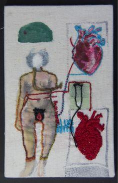 Vitor Novato - Relação 11,5 x 18 cm Xilogravura, pintura e bordado sobre tecido