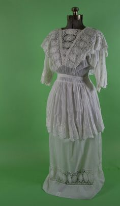 Edwardian Lace Dress by ShopPeachesVintage - Steampunk Steampunk Clothing - Smoked Glass Goggles