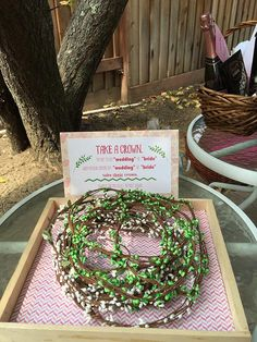 Glamping party. Floral crowns instead of ring game. Scribble Me Happy - An Art Studio Celebrating Creativity | Glamping Bridal Shower