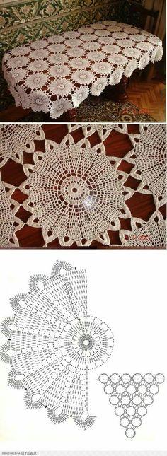 """""""bieżnik na Stylowi."""", """"Crochet shawl or blanket pattern"""" Crochet Motif Patterns, Crochet Diagram, Crochet Chart, Thread Crochet, Crochet Designs, Crochet Stitches, Crochet Bedspread, Crochet Tablecloth, Crochet Doilies"""