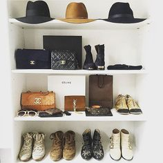 Closet envy : @lena_terlutter #closet #chanel #celine #ysl Reposted Via @doneanddonehome
