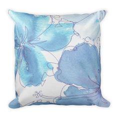 Pillow Pillow - Blue Hibiscus Flower - Watercolor