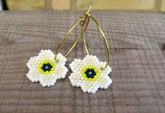 Earrings - Daffodils - Beadwork - White, Eggshell, Bright Yellow, Teal and Black - Gold or Silver
