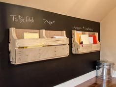 Chalkboard paint turns an office wall into a message station.