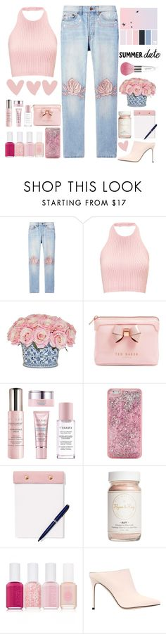 """Summer date ."" by parkmona on Polyvore featuring Bliss and Mischief, The French Bee, Ted Baker, By Terry, ban.do, StudioSarah, Flynn&King, Essie, Sergio Rossi and Guerlain"