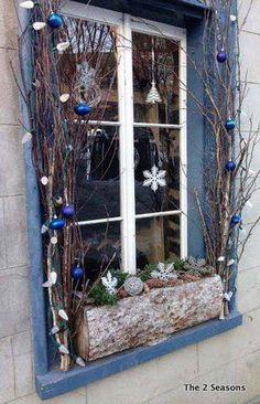 Winter Window Box- sitting ON the sill Winter Window Boxes, Christmas Window Boxes, Christmas Window Decorations, Christmas Porch, Outdoor Christmas, Rustic Christmas, Winter Christmas, Christmas Crafts, Xmas
