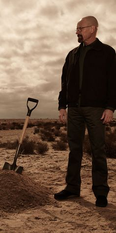 Breaking Bad, Walther White, Heisenberg, clouds, desert, digging, great tv series, photo.
