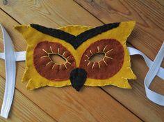 Owl Felt Mask Realistic Animal Costume Mask by FolkOfTheWoodCrafts, $25.00