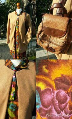 Vestito vintage tema boschivo 35 euro, giacca geometrica color cammello 40 euro, zainetto in vera pelle 35 euro! #woodstockzambon   #vintage   #shop   #vicenza   #shopping   #online