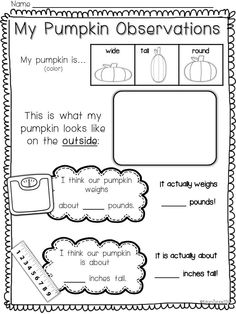 Pumpkin Observations! --This will be perfect for the month of October!!! Mini books, pumpkin life cycle activities, fun bulletin board, pumpkin observations, beginning sounds activities, syllables, letter games, + math centers! My kinders LOVED this unit! $