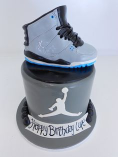 Air Jordan Birthday Cake, oh my goodness LOL. I have to pin just because @Daisy Duck One!!! it's Jordan's however fondant cake taste like crap & we don't eat it haha