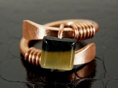 Mens or Womens Hammered Copper Wire Ring with by BonzerBeads, $20.00