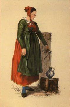 Bäuerin aus Schapbach (Rippoldsautal) - Die Badischen Landleute Trachten und Bräuche in Schwartzwald, Charles L'allemand, 1860 #Schapbach