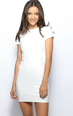 Lillie White Ribbed Bodycon Mini Dress