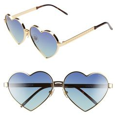 Wildfox 'Lolita' 59mm Heart Sunglasses ($189) ❤ liked on Polyvore featuring accessories, eyewear, sunglasses, glasses, wildfox, metal sunglasses, metal heart shaped sunglasses, uv protection glasses and lens glasses