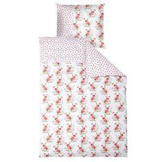 Bettwäsche weiß mit Rosen  - Maße: 135 x 200 cm und 80 x 80 cm  - Material: 100 % Baumwolle  - Maschinenwaschbar bis 30° C