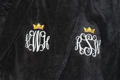 PERSONALIZED Black Luxury Velour Terry Hotel Robe; RUSH Shipping Included by EmbroideryMark on Etsy