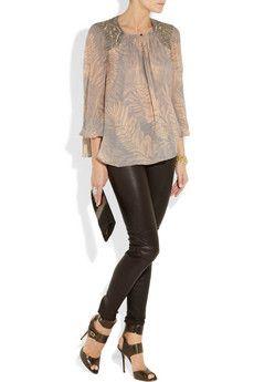 Silk blouse + Leather pants combo